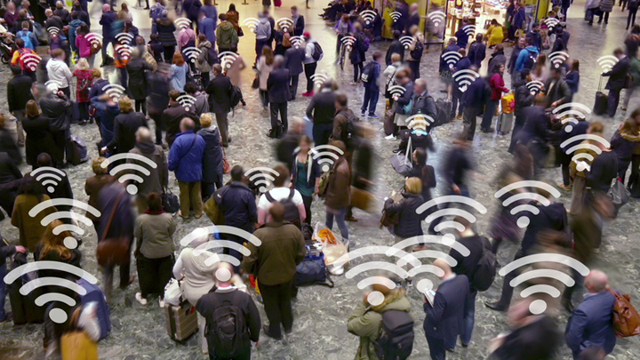 Crowd of people with connection symbols.