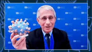 Dr. Fauci holds up a 3D printed model of SARS-CoV-2