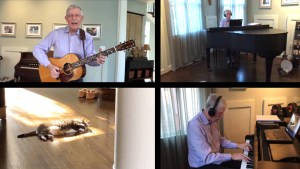 Dr. Collins playing the guitar and the piano