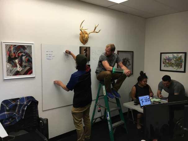 Team meeting designing the wardrobe
