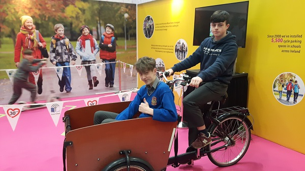 """Helping to reduce their carbon footprint"" St Joseph's Borrisoleigh students Adam Galvin and Josh Younge at the Green schools Expo in the RDS"