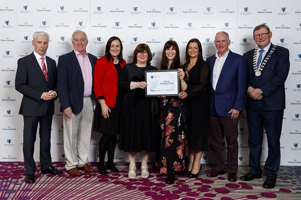 Pictured representing Nenagh at the 2019 Bank of Ireland National Enterprise Town Awards are: Elaine Cullinane, Frank McGrath, Robert Gill, Roberta Noto, Joe McGrath, Rosemary Joyce, Hilda Dolan and Cllr Michael Fitzgerald.