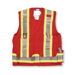 red fire retardant surveyors vest