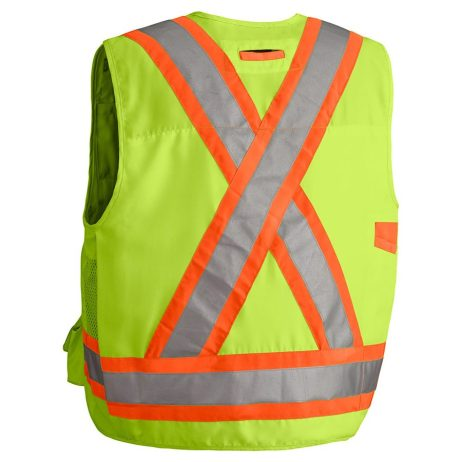 hi vis yellow surveyor vest back