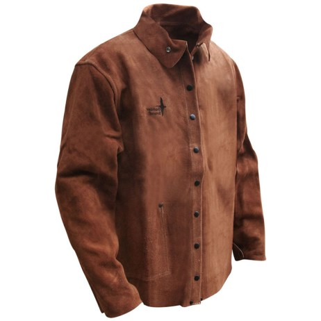 brown cowhide welding jacket