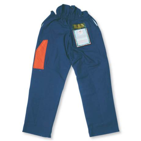 100% Cotton duck chainsaw fallers pants blue back view