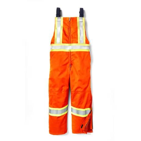 hi vis insulated bib front orange