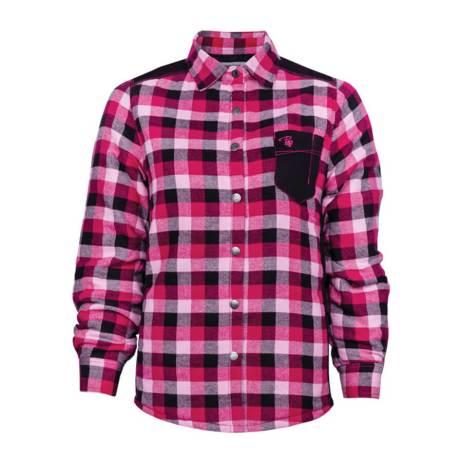 raspberry plaid flannel shirt