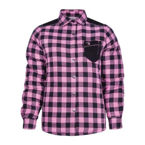padded plaid pink women's shirt
