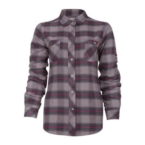 grey plaid flannel women's shirt