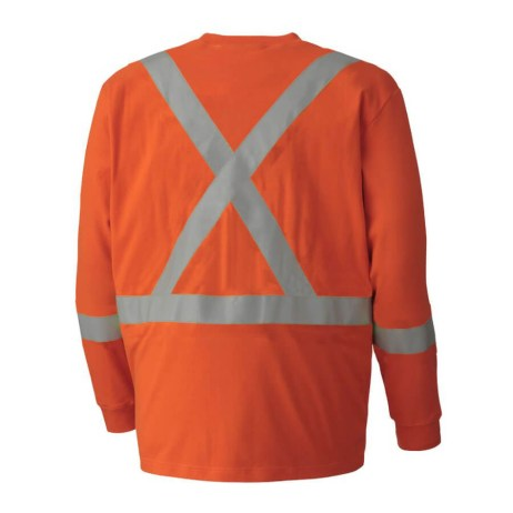orange flame resistant long sleeved cotton safety shirt