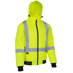 hi-viz yellow puffy jacket