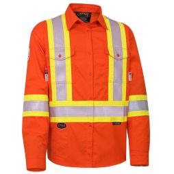 fr tech hi vis orange safety shirt