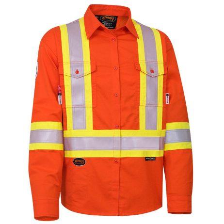 fr tech hi vis orange safety shirt