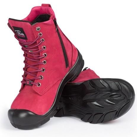Dark Pink Work Boots