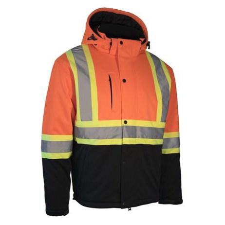 orange softshell winter safety jacket