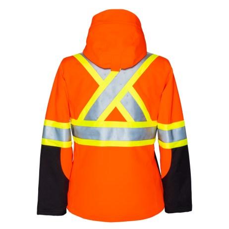 womens hi vis softshell orange jacket back