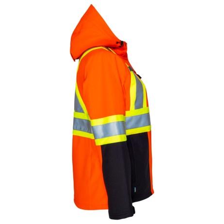 womens hi vis softshell orange jacket side