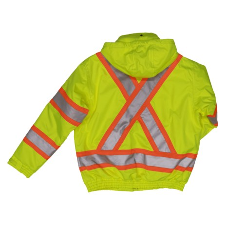 tougjh duck safety bomber jacket yellow back