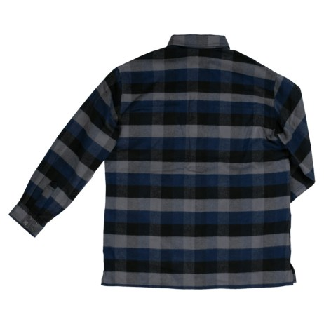 flannel overshirt blue back