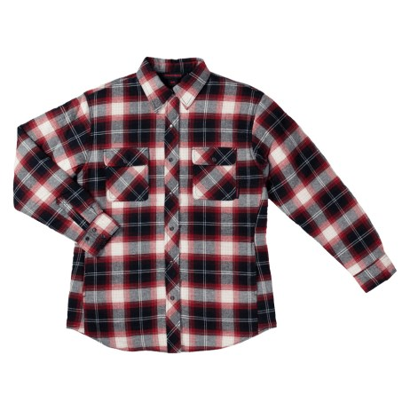 Red Plaid Flannel Quilted Shirt