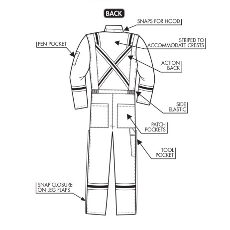IFR 201 coveralls back detail