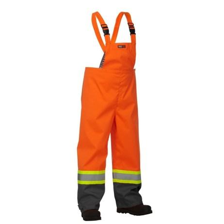 orange safety rain overalls