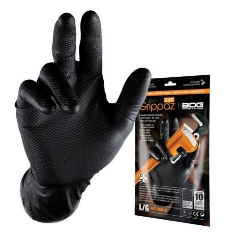 10 pack black nitrile gloves