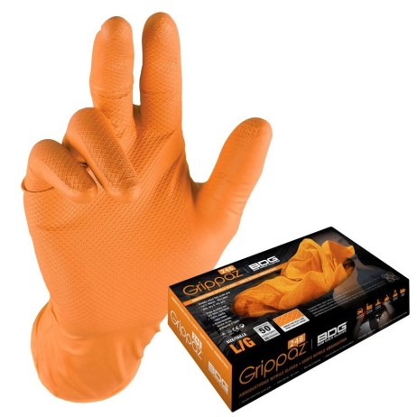 orange nitrile disposable gloves