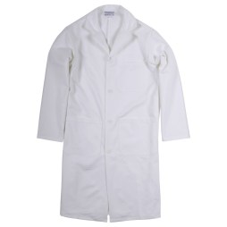 white lab coat with buttons