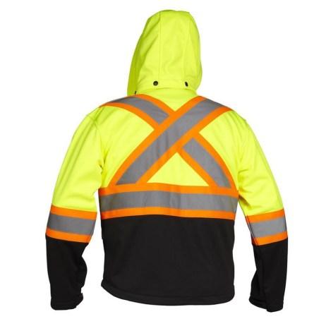 lime rain jacket back