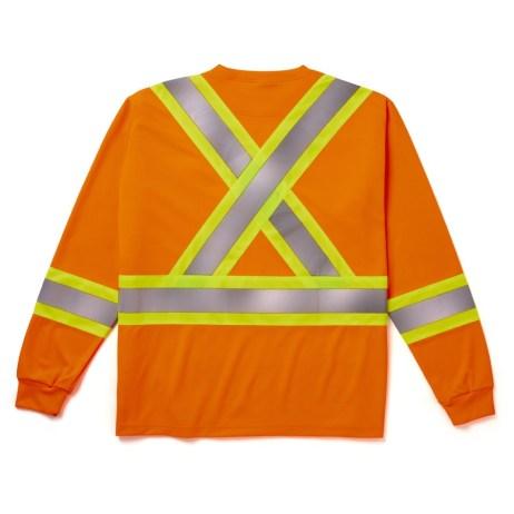 orange long sleeve safety shirt back