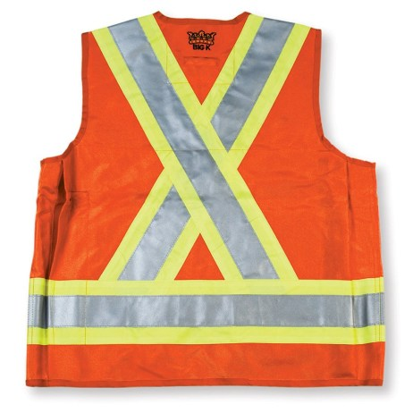 orange surveyor vest back