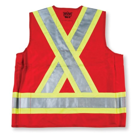 red surveyor vest back