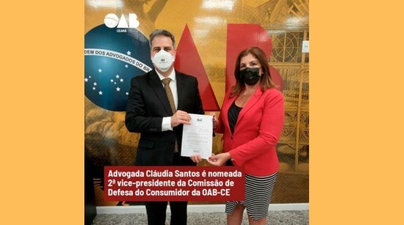 Comissão de Defesa do Consumidor da OAB-CE tem a advogada Cláudia Santos como novavice-presidente