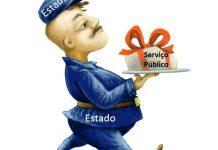 Imagem de um entregador com um presente escrito serviço público