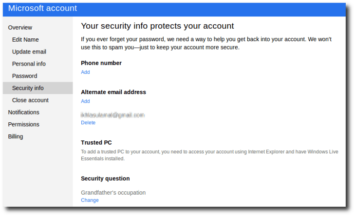 Microsoft Account – Security