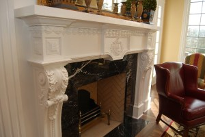 Compo and Basswood Mantel side