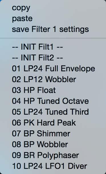 Filterプリセット