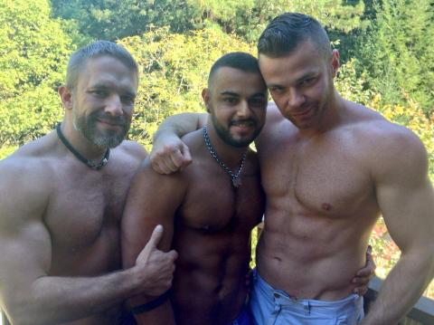 Dirk Caber, Tony Orion, & Sebastian Rossi on set at COLT