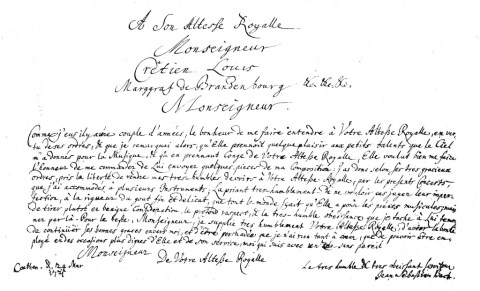 Bach's handwritten dedication of the Brandenburg Concertos to the Margrave of Brandenburg-Schwedt.