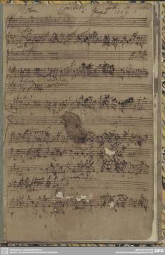 Concerto for eight instruments (more or less), in Zelenka's manuscript which obviously has not been that well taken care of. This was written in about 1718.