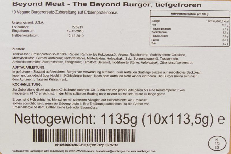 Beyond Meat - The Beyond Burger - Zutaten + Nährwerte