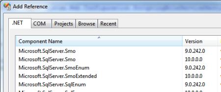Visual Studio Add Reference SMO