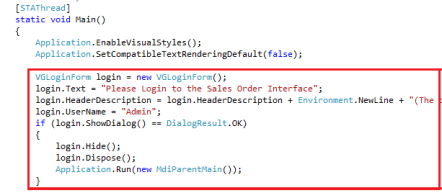 Visual Studio Add Login Form Code