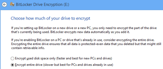 Bitlocker Encryption Options for whole drive or part