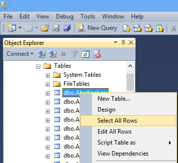 SQL Server 2012 Select or Edit All Rows
