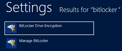 Windows 8 Search Results for Bitlocker