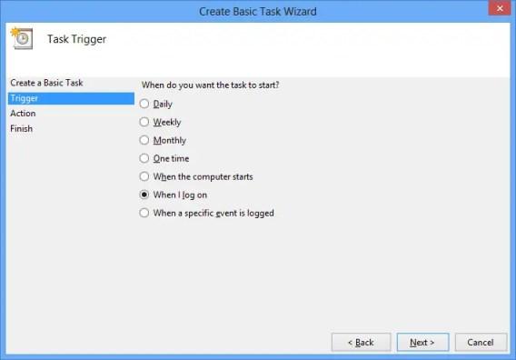 Configure Trigger for Basic Task